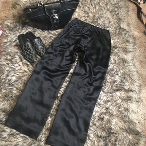 100% silk black pants 2p